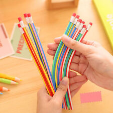 3x Colors Funny Bendy Flexible Soft Pencils With Eraser For Kids Study Gift FB
