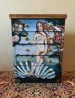 """Dollhouse miniature OOAK painted chest w/""""Birth of Venus"""" signed"""