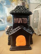 Rae Dunn Ceramic Haunted House Figurine Halloween