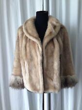 Vintage 50s Glenouat Faux Fur Wrap Jacket Stole Cape Beige