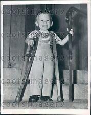 1950 2 Year Old Everett WA Boy With Tiny Crutches Polio Victim Press Photo