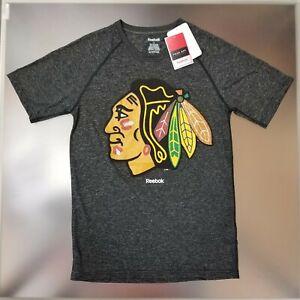 Chicago Blackhawks Men's GIANT Logo PLAYDRY Face Off Short Sleeve T-Shirt - Gray