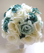 Wedding Bouquet 17 piece Bridal Bouquets Silk flowers TEAL MINT Green Cream