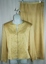 Adrianna Papell Yellow 2 PC Long Slv Jacket Long Skirt 100% Silk Suit Set 16