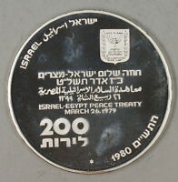 1980 Israel 200 Lirot Silver BU Independence Day Shalom Commem Coin in Holder