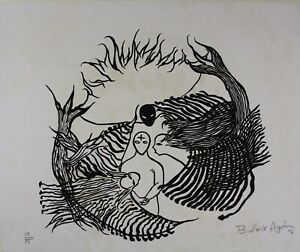 BELKIS AYON MANSO SERIGRAPHY LINOLEO ON CARDBOARD AYÓN HAND SIGNED HARD TO FIND