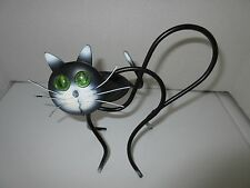Black Wrought Iron Cat Candle Holder for Votive or Tea Candle