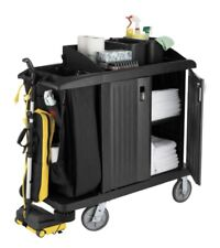 Rubbermaid FG619200 BLA Compact Housekeeping Cart - Assembled - Brand New
