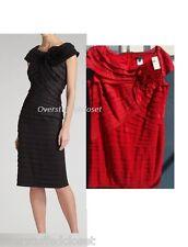 NWT $328 Tadashi Shoji Pleated Taffeta Rosette Dress Crimson Red  20Q
