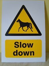 Slow Down Horses - A4 Rigid Safety Sign - Warning - Stables Equestrian Farm