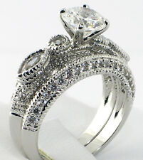 Romantic Antique 2.49 Ct. CZ Bridal Engagement Wedding Ring 2 PC. Set - SIZE 5