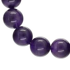 "17 Natural Amethyst Round Beads 12mm 7.8"" #55135"
