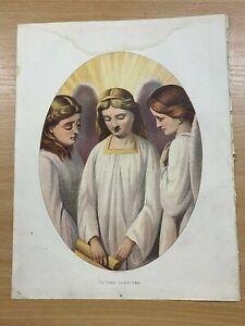"c1880s PILGRIMS PROGRESS ""THE THREE SHINING ONES"" LARGE RELIGIOUS COLOUR PRINT"