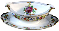 Noritake Dresdena Gravy Boat Attached Under Plate Made In Japan Vintage 1930s
