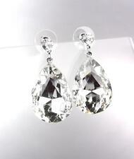GLITZY SPARKLE Clear Tear Drop Czech Crystal Bridal Queen Pageant Post Earrings