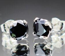 2.40tcw REAL Natural Black Diamond Stud Earrings AAA Grade & $1400 Value'