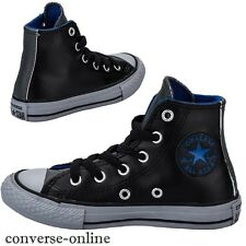 KIDS Boys Girl CONVERSE All Star BLACK LEATHER HI TOP Trainers Boot SIZE UK 10.5