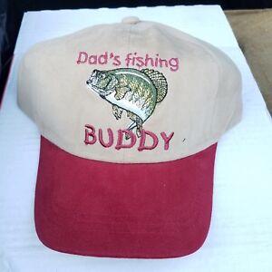 Dad's Fishing Buddy Youth Baseball Cap Beige Khaki maroon Fishing Hat