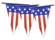 Bunting USA Flag Stars Stripes 4th July Blue String Stars 10m Triangle USA002