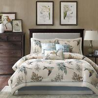 Cabin 100% Cotton Top Birds Khaki Blue Floral Comforter 7 pcs Set Cal King Queen
