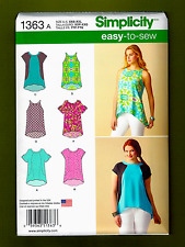 Easy Sleeveless Tops & T-Shirts Sewing Pattern (Sizes XXS-XXL) Simplicity 1363
