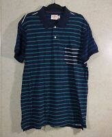 Brooks Brothers Red Fleece Short Sleeve Polo Shirt Blue Striped Men's Size XL