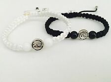 His And Hers Yin Yang Couple Bracelet Onix Black And White Beads 2 Pcs❤️