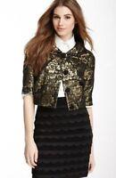 New! Women's Sz L Black and Gold Cropped Jacket Metallic Brocade Floral Blazer