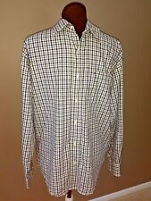 Tommy Hilfiger Button Down Long Sleeve Cotton Shirt Mens S Green & Navy Plaid