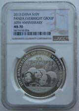 NGC MS70 China 2013 Everbright Group 30th Anniversary Panda Silver Coin 10 Yuan