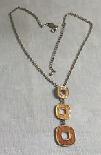 """Lia Sophia GT Chain Enameled Graduated Square Articulated Pendant 19"""" Necklace"""