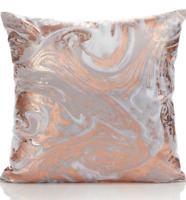 NEW COPPER ROSE GOLD SILVER GREY MARBLE EFFECT SOFT CUSHION & PAD SOFA BED 43x43