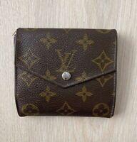 Louis Vuitton Elise Trifold Square Monogram Leather Vintage Brown Wallet Purse