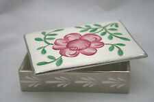 Vntg England Gray's Pottery Ceramic Trinket Jewelry Powder Box  White Pink