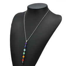 Reiki Healing Spiritual Beads Chakra Pendant Yoga Long Tassel Chain Necklace