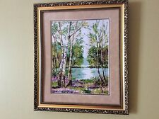 "Handmade ""Mother Nature"" Cross Stitch Needlepoint Artwork Framed Ukraine Signed"