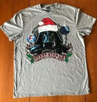 Unisex Star Wars Grey Tee Shirt Retro 80's 90's Merry Sithmas Darth Vader XL/XG