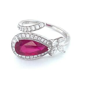 18K White Gold Natural Ruby & Diamond Ring with Valuation Certificate 2.145ct