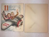Vtg 1950's Boy Girl 11th Year Old Birthday Greeting Cards Airplane NEVER USED!