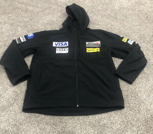 Spyder US Ski Team Jacket Men XL Full Zip Hooded Sponsored Soft Shell Pocket E3