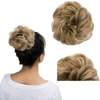 Brown Hair Scrunchie Hair Piece 100% Natural Wavy Curly Straight Spiky Ponytail