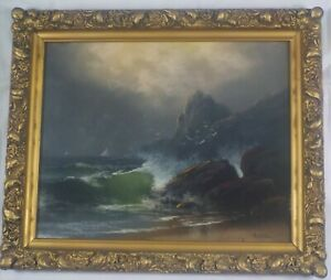 Antique Original 1906 Seascape Pastel Painting by D.D. Fisher Listed