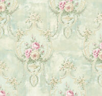 Floral Damask Wallpaper in the Victorian Style in Blue Cream Pink Green