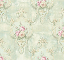 Damask Wallpaper Floral Blue Cream Pink Green Victorian Style Samples Available