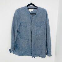 Trenery Women's Size 10 Long Sleeve Button Up Shirt Blue