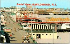 Chrome New Jersey Postcard Wildwood NJ Aerial View Boardwalk Amusement Park