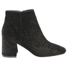 Ladies DOLCIS BRIDGET Black Croc Velvet Block Heeled Ankle Boots Pull On UK 3