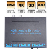 HDMI Audio Extractor, HDMI to HDMI + Audio (SPDIF+R/L), Support ARC 4K EDID Set