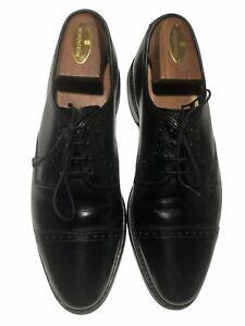 Allen Edmonds Men's Clifton Black Leather Perforated Cap Toe Derby's - Size 8D