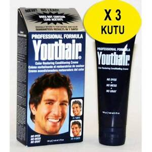 YOUTHAIR X 3 boxes Hair Color Restoring Creme For Men LEAD FREE 106gr 09 / 2021
